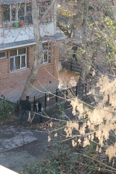 Tachkent: journée de service communautaire des élèves - deux garçons à part s'attèlent à la tache