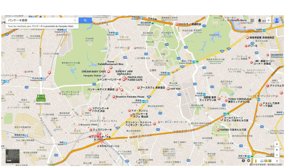 Carte des restaurants de pancake dans les quartiers Harajuku et Omotesando